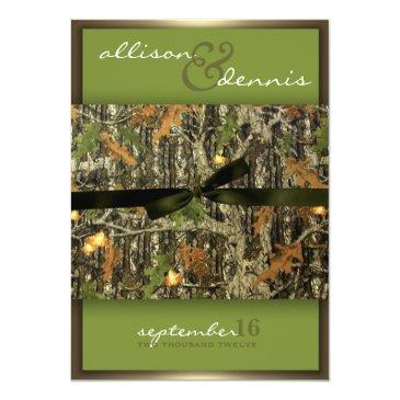 Small Lavish Camo Wedding Invitationss Front View