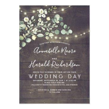Small Leafy Greenery | Rustic Country Wedding Invitation Front View