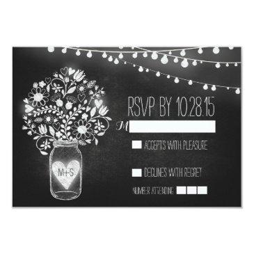 lights mason jar chalkboard wedding rsvp