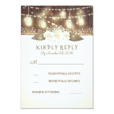 lights mason jars rustic wood barn wedding rsvp