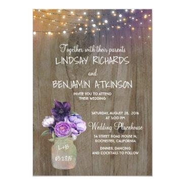 lilac plum purple floral mason jar rustic wedding invitation