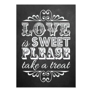 Small Love Is Sweet - Chalkboard Wedding Sign Invitationss Front View