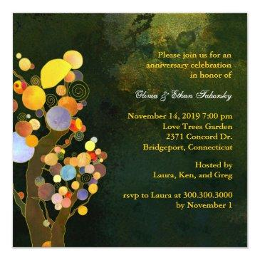 Small Love Trees 50th Golden Wedding Anniversary Invitationss Back View