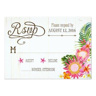 Small Luau Hawaiian Wedding Beach Rustic Beach Rsvp Front View