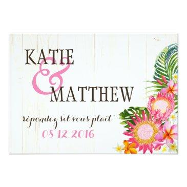 Small Luau Hawaiian Wedding Beach Rustic Beach Rsvp Back View