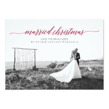 Small Married Christmas Newlywed Photo Invitation Front View