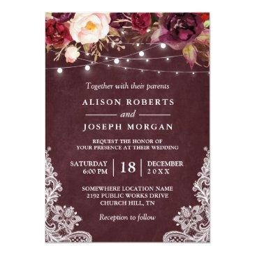 Small Marsala Burgundy Floral Lace String Lights Wedding Invitationss Front View