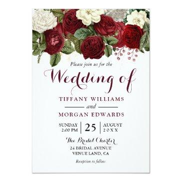 Small Marsala Burgundy Red Roses Fall Spring Wedding Invitation Front View