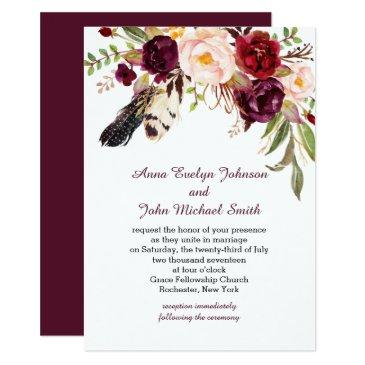 marsala burgundy white roses feathers boho wedding