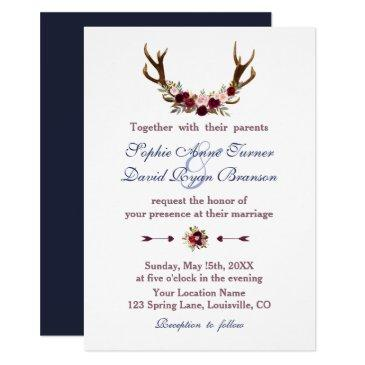 marsala floral antlers navy blue fall wedding