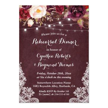 Small Marsala Floral String Lights Lace Rehearsal Dinner Invitationss Front View