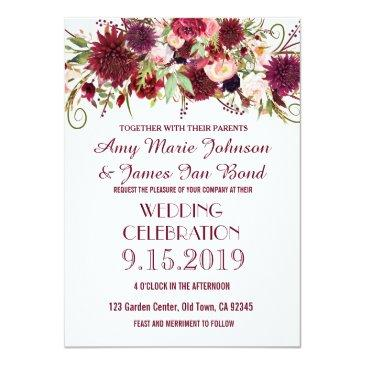 Small Marsala Red Burgundy Floral Wedding Invitationss Front View