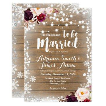 marsala winter snowflakes holiday wedding