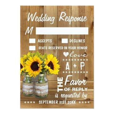 Small Mason Jar Burlap Lace Sunflower Wedding Rsvp Invitationss Front View
