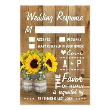 mason jar burlap lace sunflower wedding rsvp