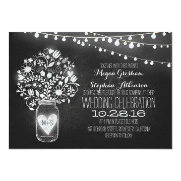 Small Mason Jar Chalkboard String Lights Wedding Invites Front View