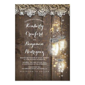 Small Mason Jar Firefly Lights And Lace Rustic Wedding Invitationss Front View