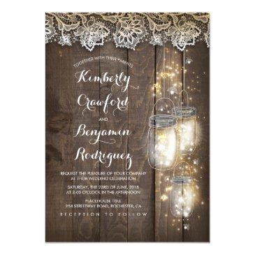 mason jar firefly lights and lace rustic wedding