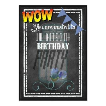 mason jar retro chalkboard birthday party invites