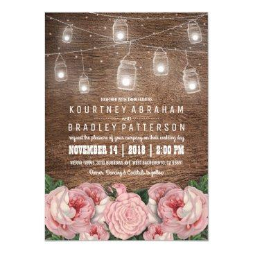 mason jar string lights pink rose wedding | rustic