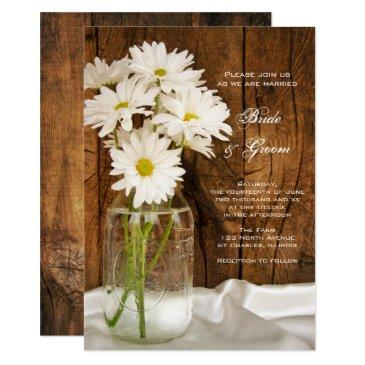mason jar white daisies barn wedding
