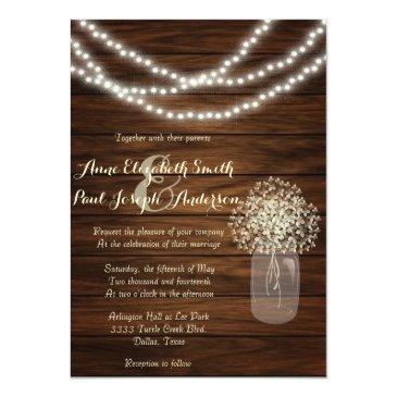 mason jars and lights rustic wedding