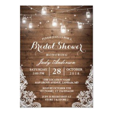 Small Mason Jars Lights Rustic Wood Lace Bridal Shower Front View