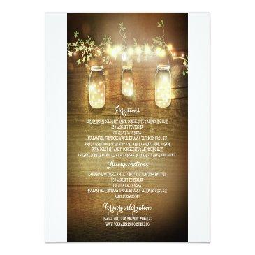 Small Mason Jars String Lights Wedding Information Front View