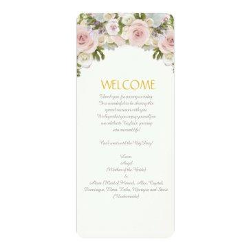 menu rose succulent romantic floral wedding