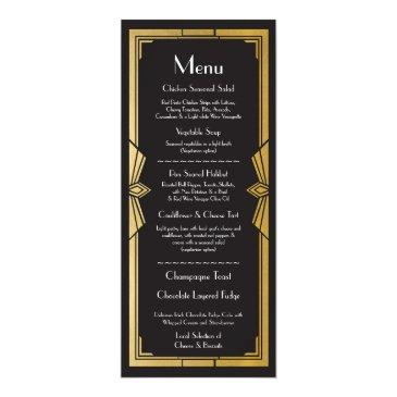menu wedding reception rustic 1920's art deco