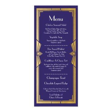 menu wedding reception rustic 1920's navy art deco