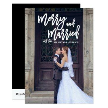 merry and married hand lettered holiday photo