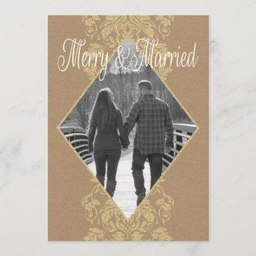 merry & married damask first christmas together holiday