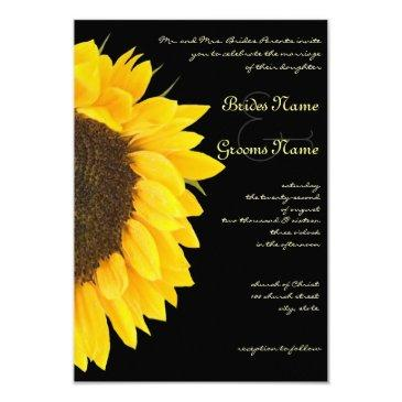 mini beautiful sunflower black wedding hand out invitations