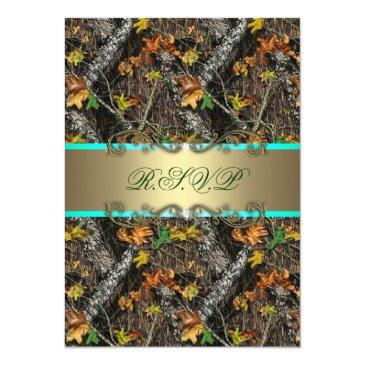 Small Mint Formal Camo Wedding Rsvp Invitationss Front View