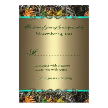 Small Mint Formal Camo Wedding Rsvp Invitationss Back View