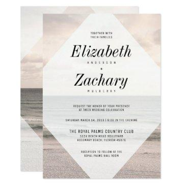 modern beach wedding diamond invitation