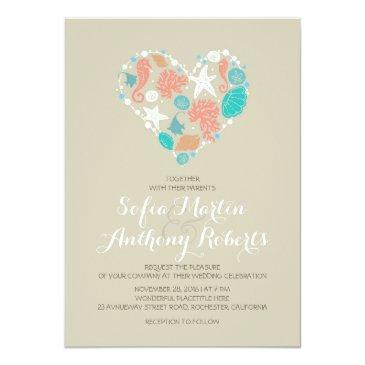 modern beach wedding  sea heart