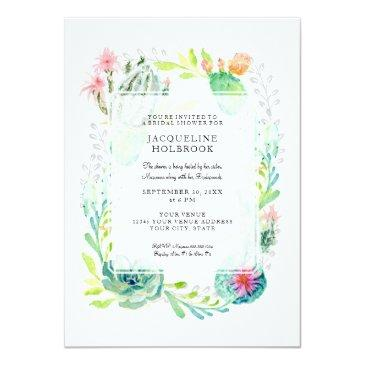 Small Modern Bridal Shower Watercolor Desert Cactus Art Invitationss Front View