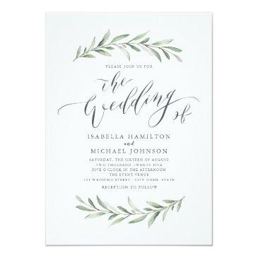 Small Modern Calligraphy Simple Greenery Wedding Invitation Front View