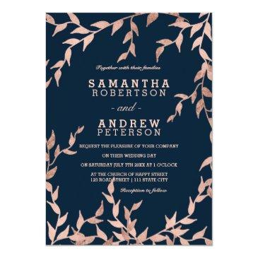 modern fall rose gold floral branch navy