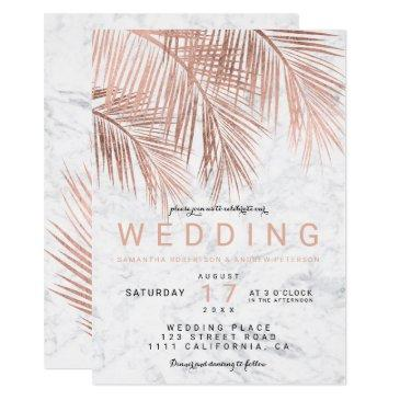modern faux rose gold palm tree marble wedding