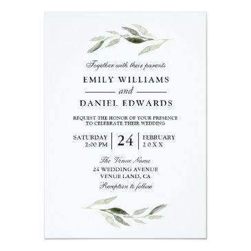 Small Modern Green Leaf Elegant Wedding Invite Front View