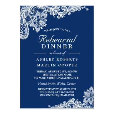 Small Modern Navy Blue Lace Wedding Rehearsal Dinner Invitationss Front View