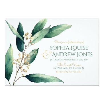 modern painted botanical greenery rustic wedding invitations