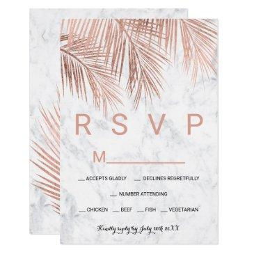 modern rose gold palm tree marble rsvp wedding