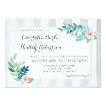 modern stripes & watercolor floral pansy wedding