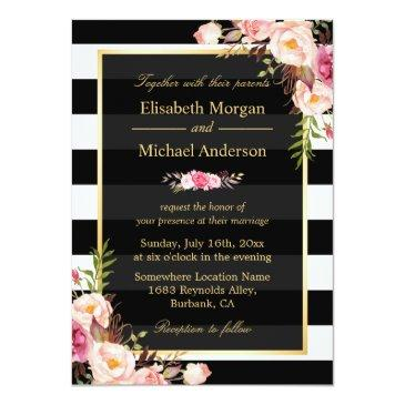 Small Modern Vintage Pink Floral Stripes Formal Wedding Front View