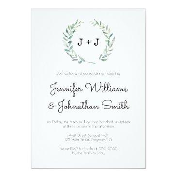 Small Modern Wreath Rehearsal Dinner Invitation Front View