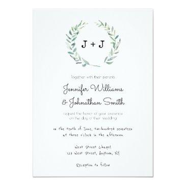 Small Modern Wreath Wedding Invitationss Front View